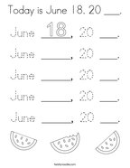 Today is June 18 20 ___ Coloring Page