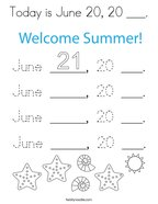 Today is June 20, 20 ___ Coloring Page