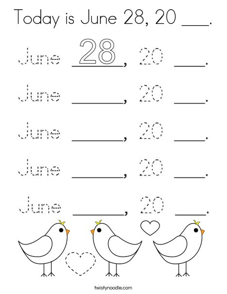Today is June 28, 20 ___. Coloring Page