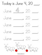 Today is June 4, 20 ___ Coloring Page