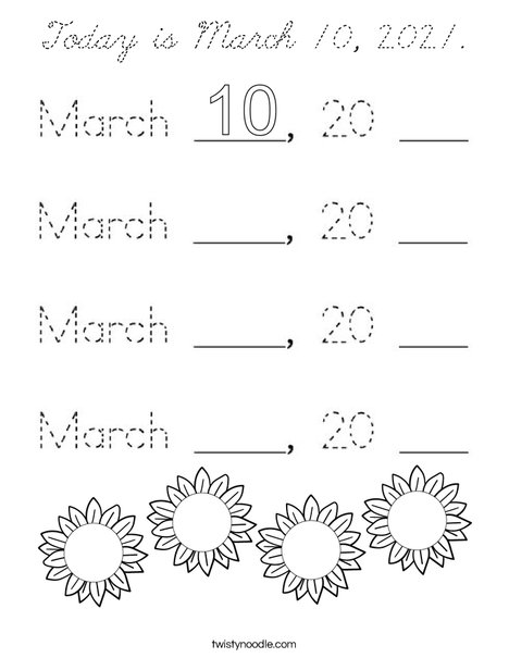 Today is March 10, 2020. Coloring Page