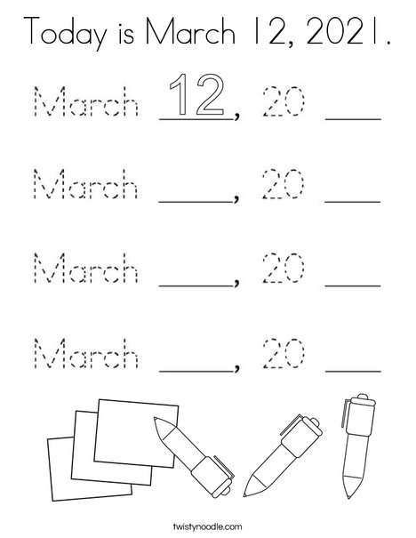 Today is March 12, 2020. Coloring Page