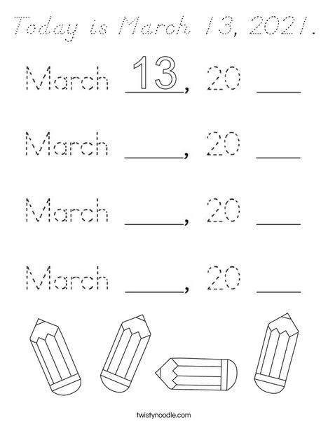 Today is March 13, 2020. Coloring Page