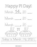 Today is March 14, 2021 Handwriting Sheet