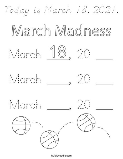 Today is March 18, 2020. Coloring Page