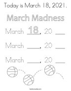 Today is March 18, 2021 Coloring Page
