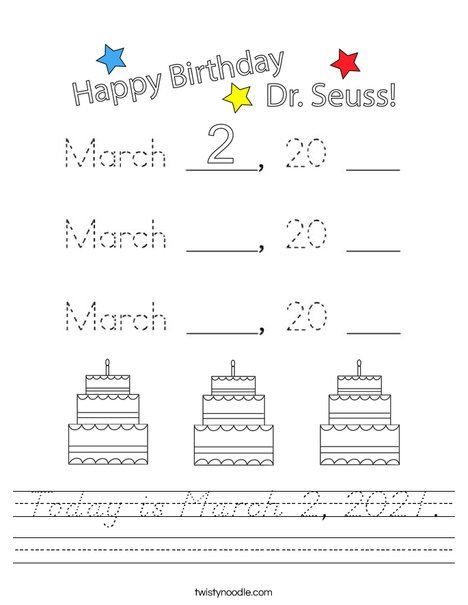 Today is March 2, 2020. Worksheet