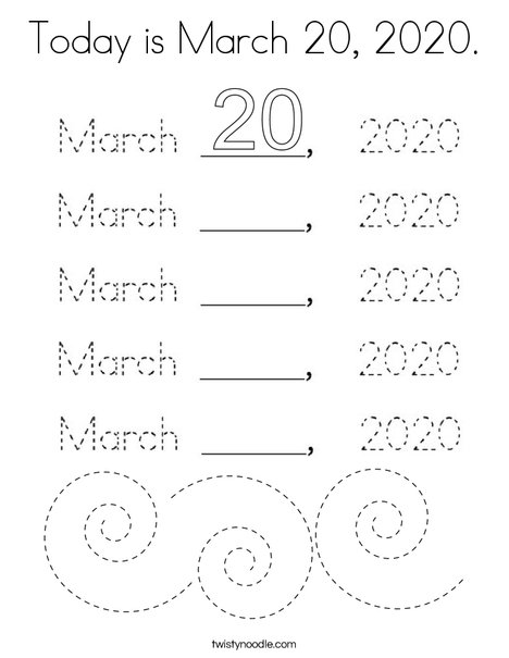 Today is March 20, 2020. Coloring Page
