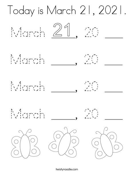 Today is March 21, 2020. Coloring Page
