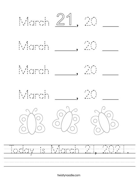 Today is March 21, 2020. Worksheet