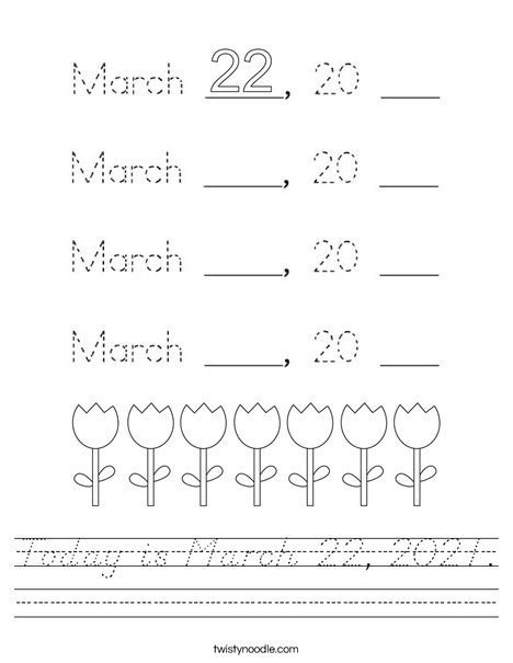 Today is March 22, 2020. Worksheet