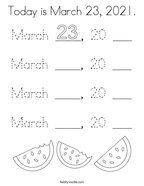 Today is March 23, 2021 Coloring Page