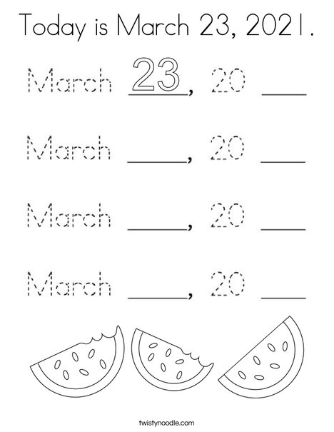 Today is March 23, 2020. Coloring Page