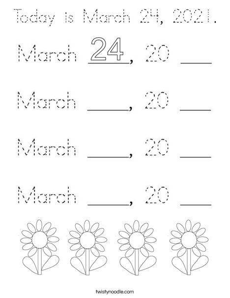 Today is March 24, 2020. Coloring Page