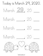 Today is March 29, 2020 Coloring Page