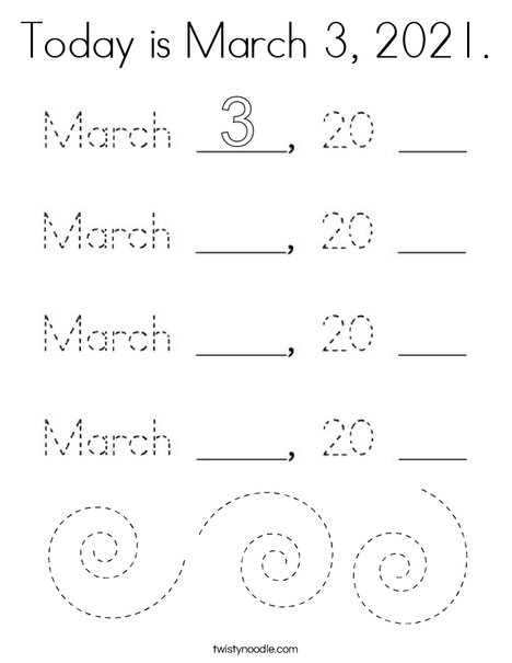 Today is March 3, 2020. Coloring Page