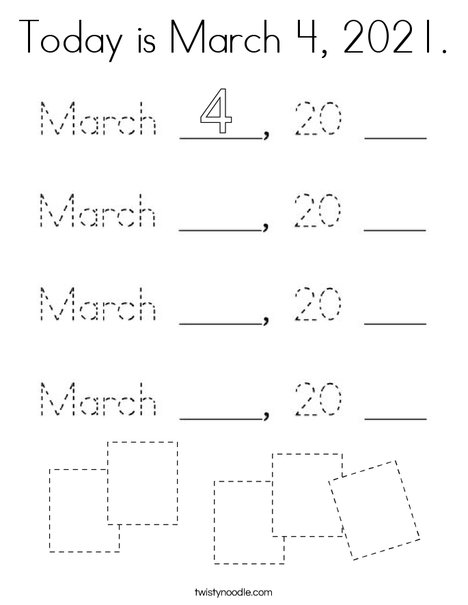 Today is March 4, 2020. Coloring Page