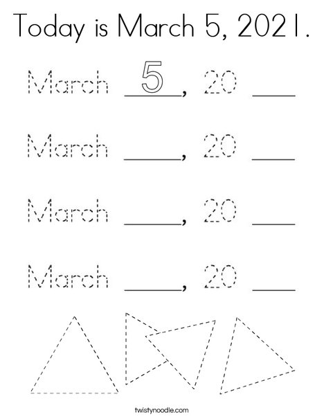 Today is March 5, 2020. Coloring Page