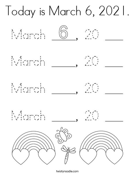 Today is March 6, 2020. Coloring Page