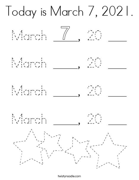 Today is March 7, 2020. Coloring Page