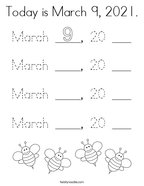 Today is March 9, 2021 Coloring Page
