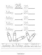 Today is May 25, 2021 Handwriting Sheet