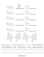 Today is May 3, 2020 Handwriting Sheet