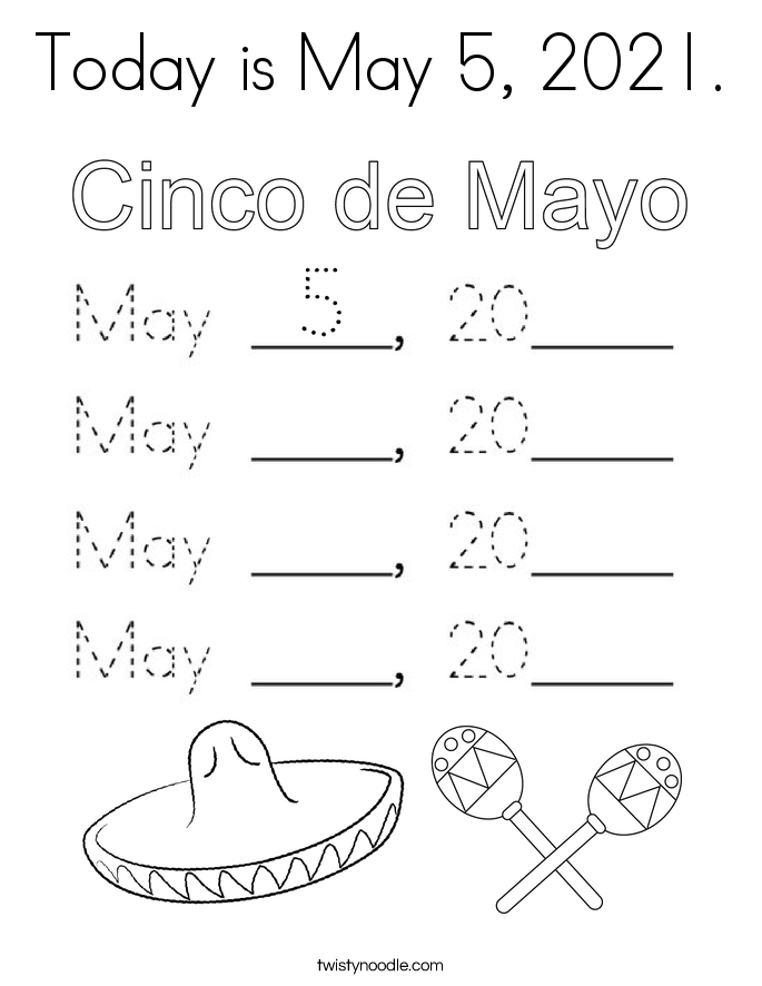 Today is May 5, 2021. Coloring Page