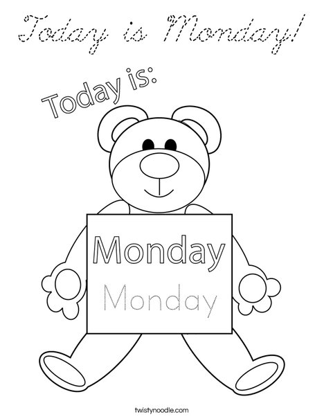 Today is Monday! Coloring Page