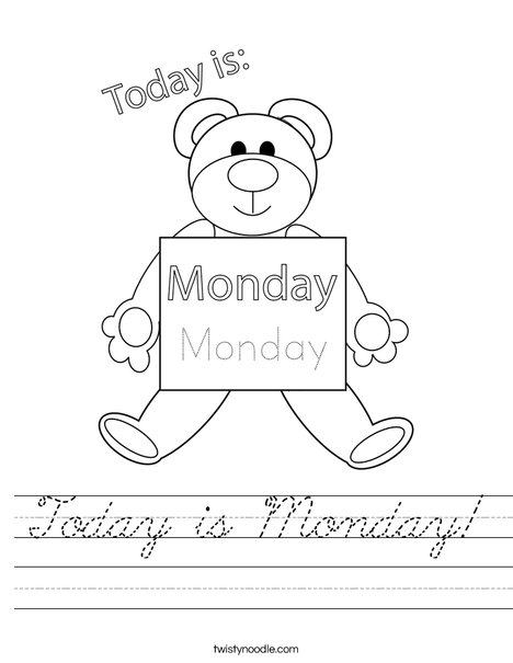 Today is Monday! Worksheet