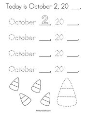 Today is October 2, 20 ___ Coloring Page