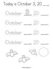 Today is October 3, 20 ___ Coloring Page