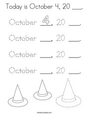 Today is October 4, 20 ___ Coloring Page