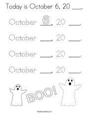 Today is October 6, 20 ___ Coloring Page