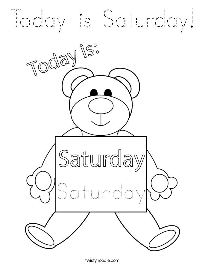 Today is Saturday! Coloring Page