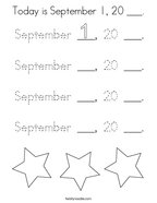 Today is September 1, 20 ___ Coloring Page