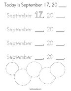 Today is September 17, 20 ___ Coloring Page