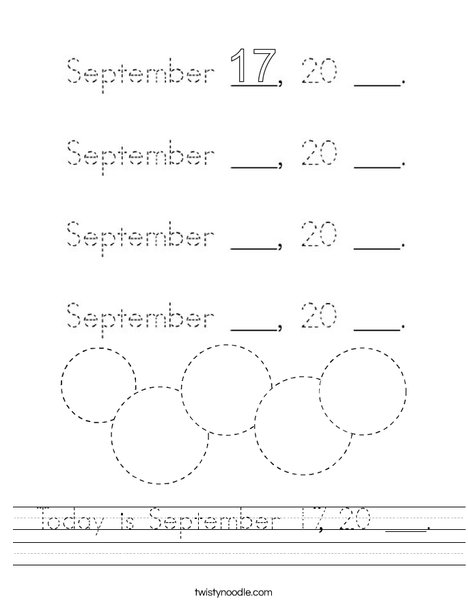 Today is September 17, 20 ___. Worksheet