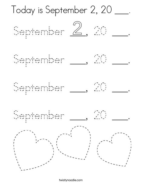 Today is September 2, 20 ___. Coloring Page