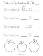 Today is September 5, 20 ___ Coloring Page