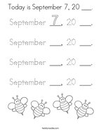 Today is September 7, 20 ___ Coloring Page