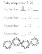 Today is September 8, 20 ___ Coloring Page