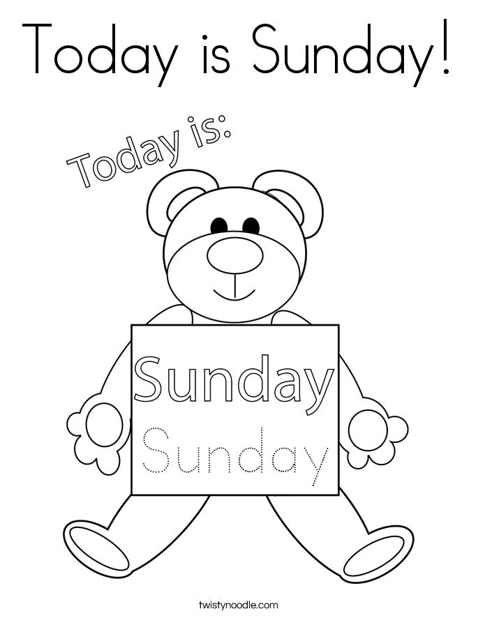 Today is Sunday! Coloring Page