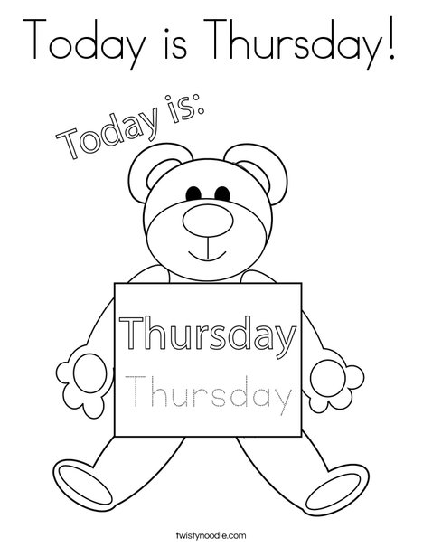 Today is Thursday! Coloring Page