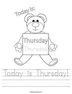 Today is Thursday Handwriting Sheet