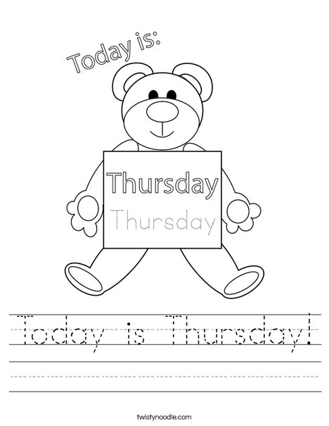 Today is Thursday! Worksheet