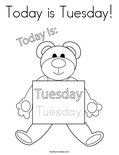 Today is Tuesday! Coloring Page