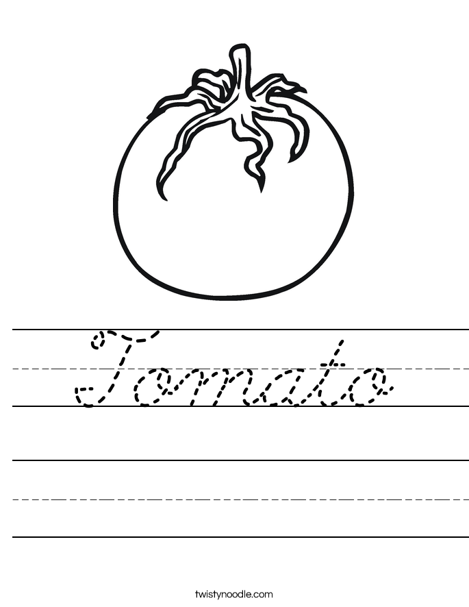 Tomato Worksheet Cursive Twisty