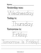 Tomorrow is Friday Handwriting Sheet
