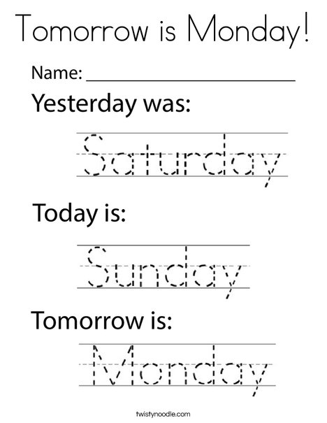 Tomorrow is Monday! Coloring Page